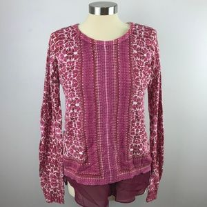 Lucky Brand Womens Small Pink Top Waffle Knit
